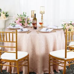 "120"" Round Jacquard Damask Polyester Tablecloth - Blush Pink (1pc/pk)"