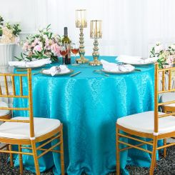 "120"" Round Marquis Jacquard Damask Polyester Tablecloths (12 colors)"