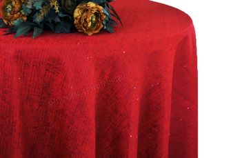 """120"""" Round Paillette Poly Flax / Burlap Tablecloth - Apple Red 10808 (1pc/pk)"""