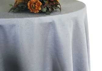 "120"" Round Paillette Poly Flax / Burlap Tablecloth - Silver 10840 (1pc/pk)"