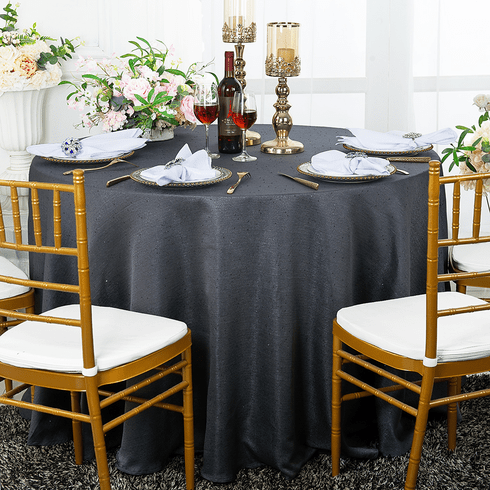 "120"" Round Paillette Poly Flax / Burlap Tablecloth - Pewter 10860 (1pc/pk)"