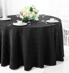"120"" Round Plaid Jacquard Polyester Tablecloths (6 colors)"