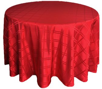 "120"" Round Plaid Polyester Jacquard Tablecloths - Apple Red 87608 (1pc/pk)"