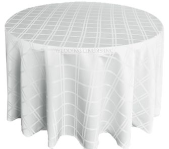 "120"" Round Plaid Polyester Jacquard Tablecloths - White 87601(1pc/pk)"