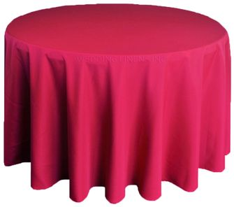 "120"" Round Polyester Tablecloth - Apple Red 51608(1pc/pk)"