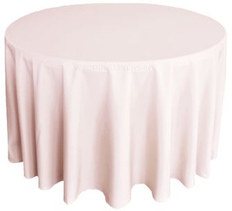"120"" Round Polyester Tablecloth - Blush Pink 51615 (1pc/pk)"