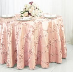 "120"" Round Ribbon Taffeta Tablecloth - Blush Pink 65915 (1pc/pk)"