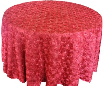 """120"""" Round  Satin Rosette Tablecloth - Apple Red 56508(1pc/pk)"""