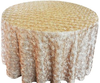 "120"" Round Satin Rosette Tablecloth - Champagne 56528(1pc/pk)"