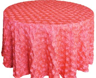 """120"""" Round Satin Rosette Tablecloth - Coral (1pc/pk)"""