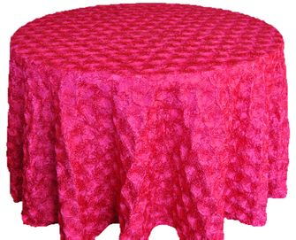 "120"" Round Satin Rosette Tablecloth - Fuchsia (1pc/pk)"
