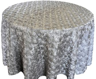 "120"" Round Satin Rosette Tablecloth - Silver 56540(1pc/pk)"