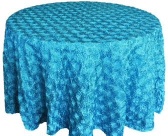 "120"" Round Satin Rosette Tablecloth - Turquoise (1pc/pk)"