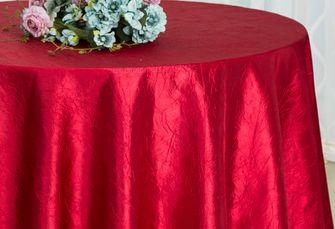 """120"""" Round Crushed Taffeta Tablecloth - Apple Red 61908(1pc/pk)"""