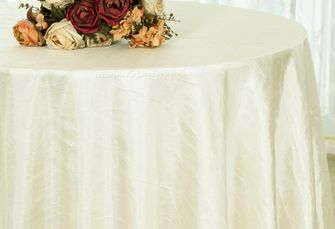 "120"" Round Crushed Taffeta Tablecloth - Ivory 61902(1pc/pk)"