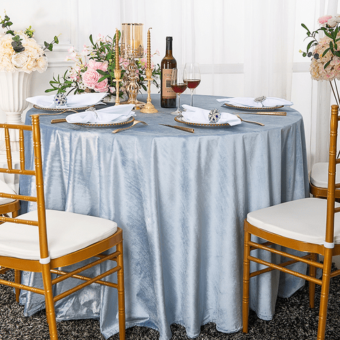 "120"" Round Seamless Italian Velvet Tablecloth - Dusty Blue 25303 (1pc/pk)"