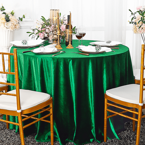 "120"" Round Seamless Italian Velvet Tablecloth - Emerald Green 25338 (1pc/pk)"