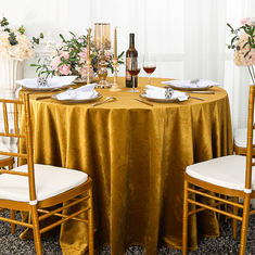 "120"" Round Seamless Italian Velvet Tablecloths (10 Colors)"