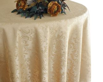 "120"" Round Seamless Jacquard Damask Polyester Tablecloths (14 colors)"