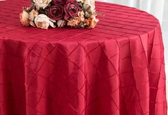 "120"" Round Pintuck Taffeta Tablecloth - Apple Red 60908(1pc/pk)"
