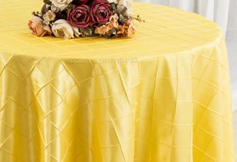 "120"" Round Pintuck Taffeta Tablecloth - Canary Yellow 60916(1pc/pk)"