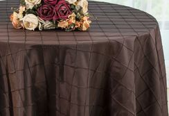 "120"" Round Pintuck Taffeta Tablecloth - Chocolate 60991(1pc/pk)"