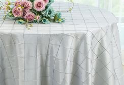 "120"" Round Pintuck Taffeta Tablecloth - Platinum 60950(1pc/pk)"