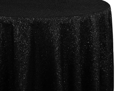 "120"" Round Sequin Taffeta Tablecloths - Black 01339 (1pc/pk)"