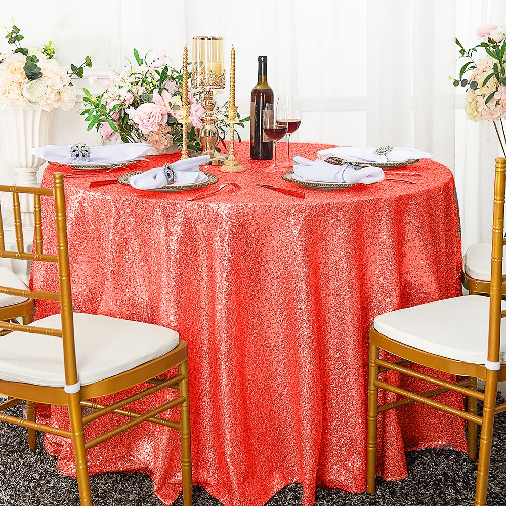 Coral Sequin Table Cover Linens 120 Quot