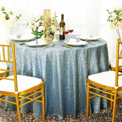 "120"" Round Sequin Taffeta Tablecloths - Dusty Blue 01303 (1pc/pk)"