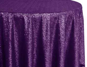 "120"" Round Sequin Taffeta Tablecloths - Eggplant 01345 (1pc/pk)"