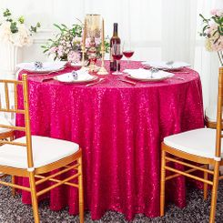 "120"" Round Sequin Taffeta Tablecloths - Fuchsia 01309 (1pc/pk)"