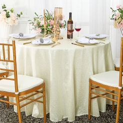 "120"" Round Sequin Taffeta Tablecloths - Ivory 01302 (1pc/pk)"