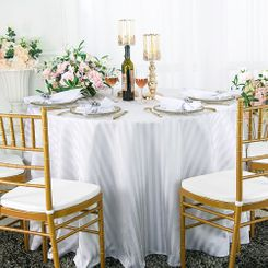 "120"" Round Striped Jacquard Polyester Tablecloths (7 colors)"