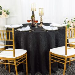 "120"" Round Jacquard Damask Polyester Tablecloth - Black (1pc/pk)"