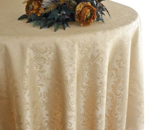 "120"" Round Jacquard Damask Polyester Tablecloth - Champagne (1pc/pk)"