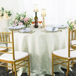 "120"" Round Jacquard Damask Polyester Tablecloth - Ivory (1pc/pk)"