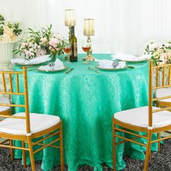 "120"" Round Jacquard Damask Polyester Tablecloth - Tiff Blue / Aqua Blue 96618(1pc/pk)"