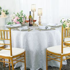 "120"" Round Jacquard Damask Polyester Tablecloth - White (1pc/pk)"