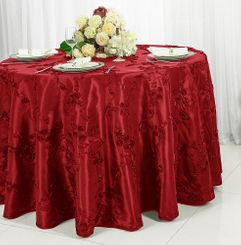 "120"" Round Ribbon Taffeta Tablecloth - Apple Red 65908 (1pc/pk)"