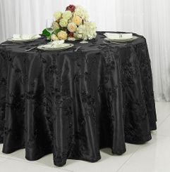 "120"" Round Ribbon Taffeta Tablecloth - Black 65939(1pc/pk)"