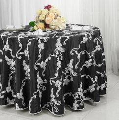 "120"" Round Ribbon Taffeta Tablecloth - Black / White 65979(1pc/pk)"