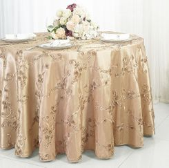 "120"" Round Ribbon Taffeta Tablecloth - Champagne 65928 (1pc/pk)"