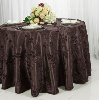 "120"" Round Ribbon Taffeta Tablecloth - Chocolate 65991 (1pc/pk)"