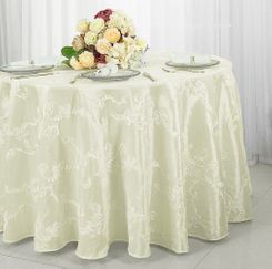 "120"" Round Ribbon Taffeta Tablecloth - Ivory 65902(1pc/pk)"