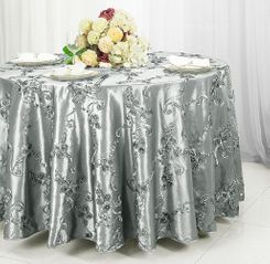 "120"" Round Ribbon Taffeta Tablecloth - Silver 65940 (1pc/pk)"
