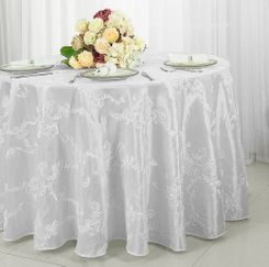 "120""  Round Ribbon Taffeta Tablecloth - White 65901(1pc/pk)"
