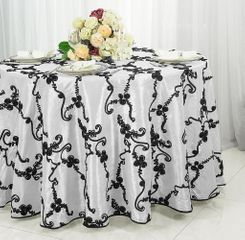 "120"" Round Ribbon Taffeta Tablecloth - White / Black 65969(1pc/pk)"