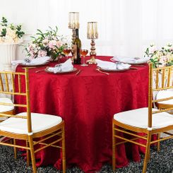 "120"" Versailles Chopin Jacquard Damask Polyester Tablecloth- Apple Red 92608 (1pc/pk)"