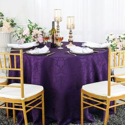 "120"" Versailles Chopin Jacquard Damask Polyester Tablecloth- Eggplant 92645 (1pc/pk)"